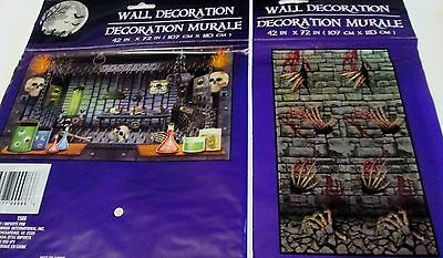 New Halloween plastic Wall Mural Skeleton Bloody Hands OR Torture Chamber / - Plastic Skeleton Hands