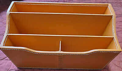 Used Orange Leather Stitches Crate Barrel Desk Organizer 582-107 Vintage Rare