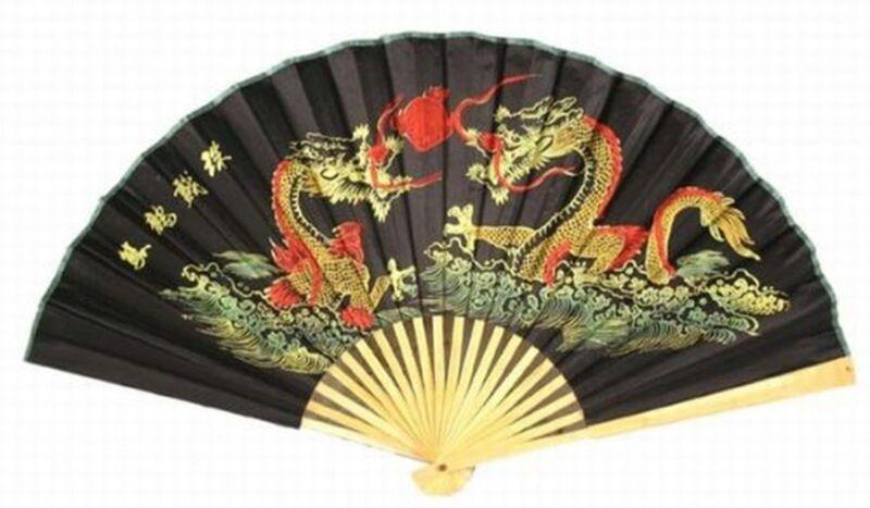 """Classic 20"""" Oriental Feng Shui Wall Fan-Black Dragon"""