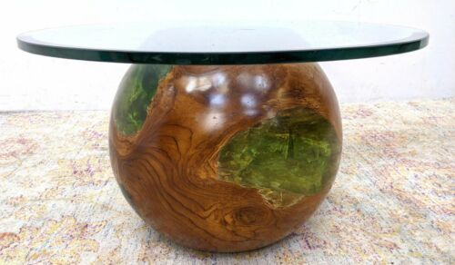 MCM Decorator Solid Wood Sphere & Green Epoxy Base Coffee Table PLS RD
