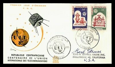 DR WHO 1965 CENTRAL AFRICAN REPUBLIC FDC ITU CENTENARY SPACE COMBO  g18740