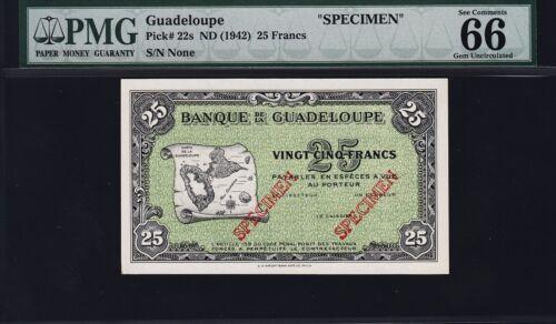 GUADELOUPE 25 FRANCS ND 1942, SPECIMEN, PMG 66 GEM UNCIRCULATED EPQ, P-22s, RARE