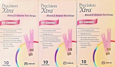 30 Blood Ketone Test Strips For Abbott Precision Xtra  Exp 12 2018