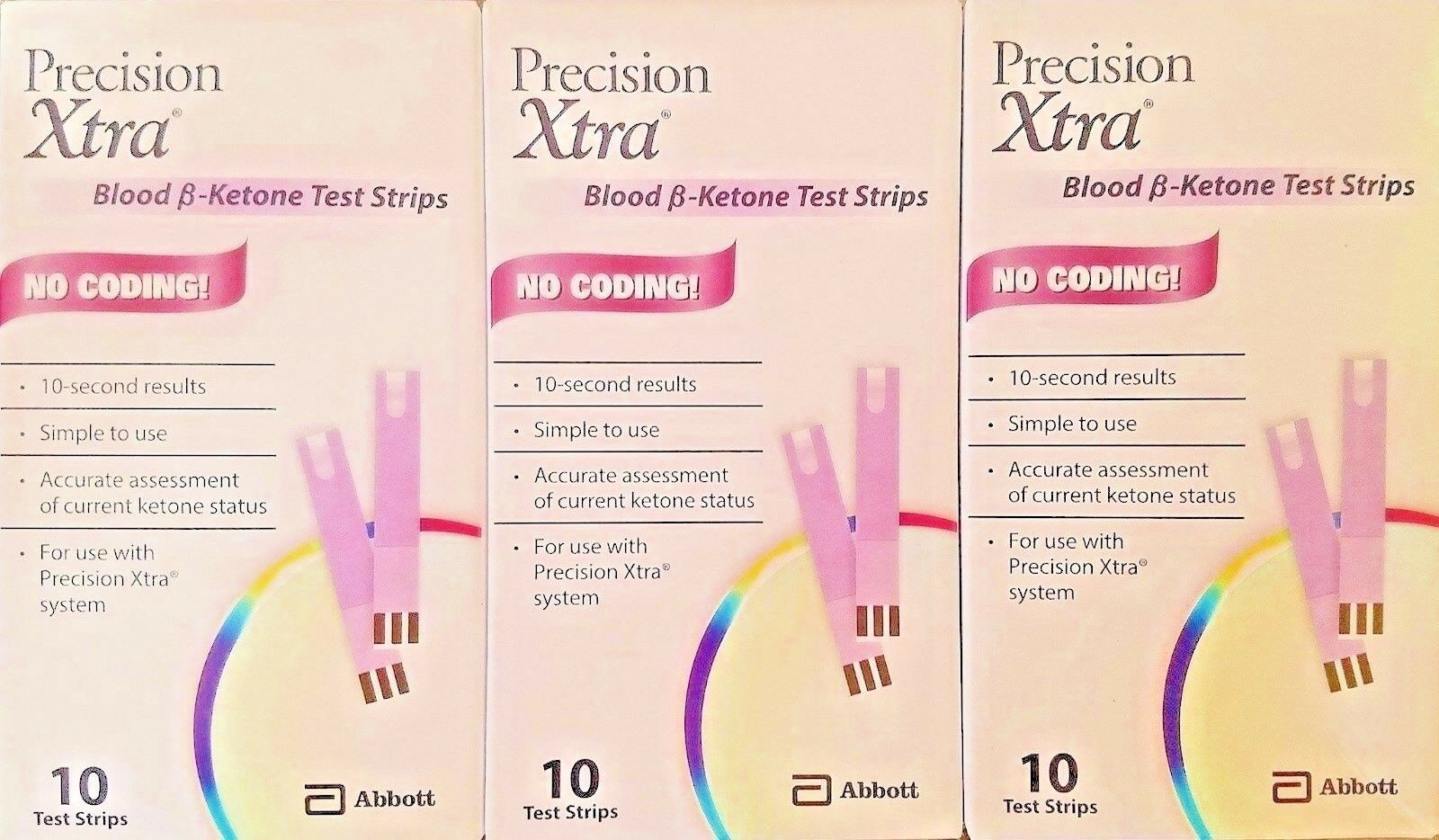 30 Blood Ketone Test Strips for Abbott Precision Xtra. EXP 1