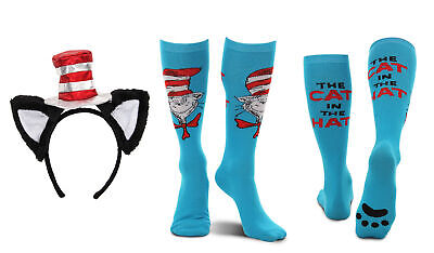 elope Dr. Seuss Cat in the Hat Deluxe Headband and Paws Knee High Costume Socks