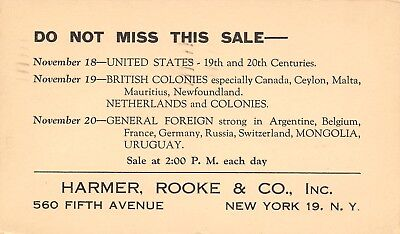 New York City~Harmer, Rooke & Company~Stamp Sale Announcement Postal~1947 Turner - Party City Sale