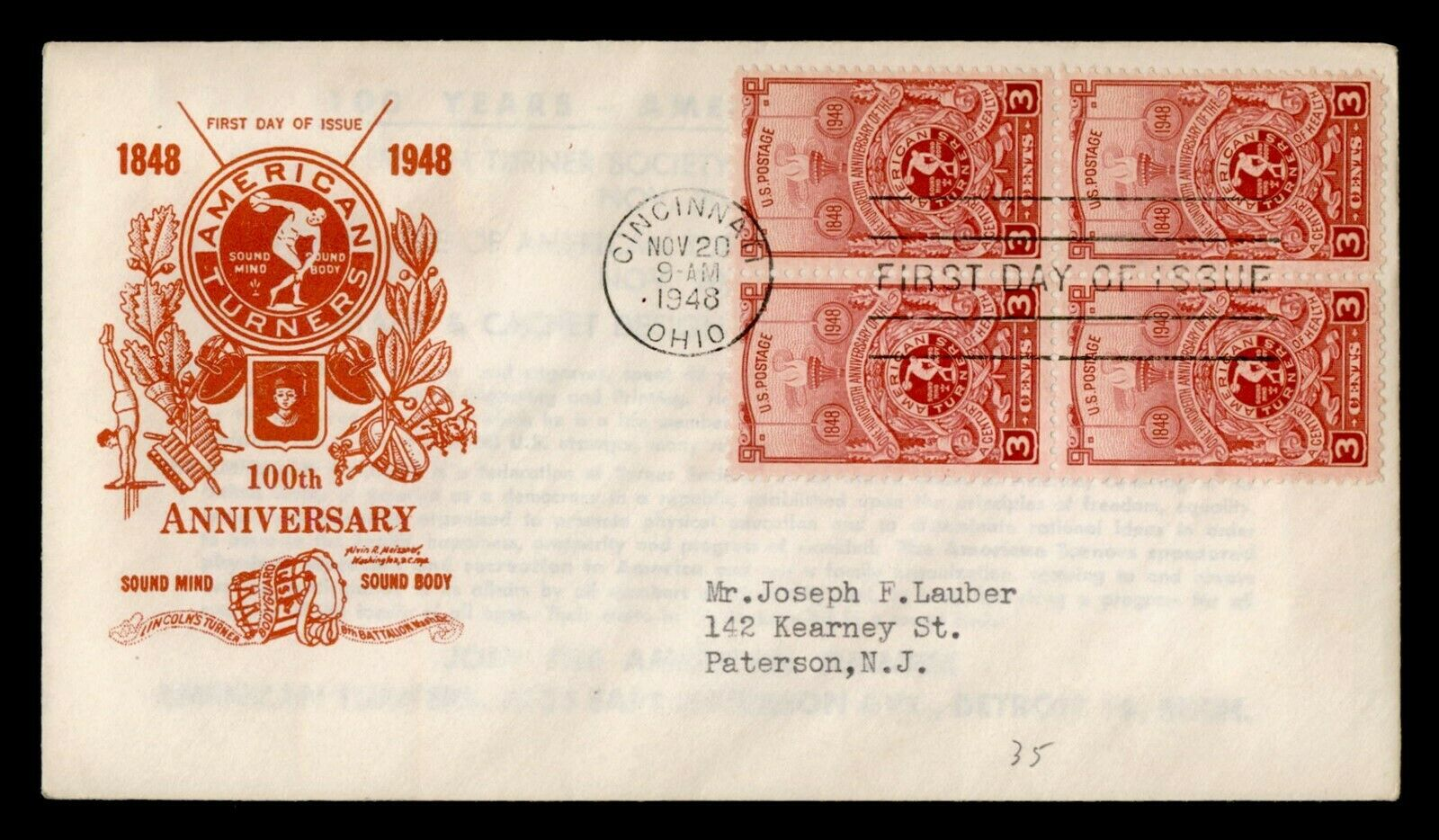 DR WHO 1948 AMERICAN TURNERS CENTENNIAL BLOCK FDC C211908 - $0.50
