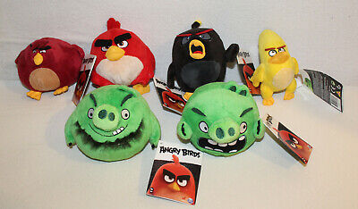 Angry Birds ™ 6 Plüschtiere Red Bomb Terence Pig Leonard Chuck ca. 12 cm - NEU ()