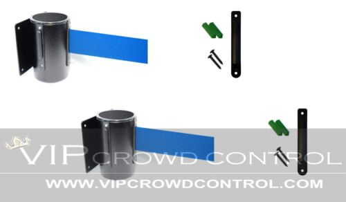 """WALL MOUNT STANCHIONS, 2 PCS PACKAGE AISLEWAY 156"""" BLUE BELT, VIP CROWD CONTROL"""