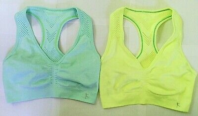 2 Athletic Champion Compression Tank Sport Bras Tops Blue Yellow Air Wick sz. S