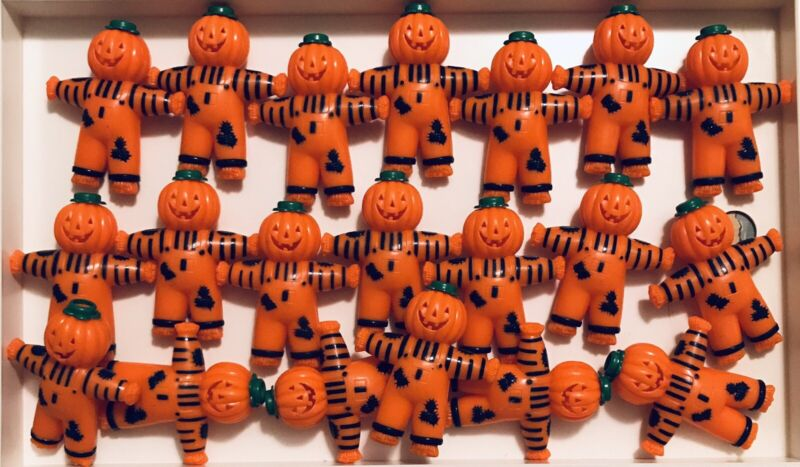 20 VINTAGE HALLOWEEN PUMPKIN HEAD SCARECROW MINI STRING LIGHT COVERS 3D PLASTIC