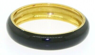 Hidalgo 18K yellow gold elegant high fashion Black enamel band ring size 8