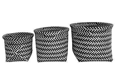 3er Set Körbe,Aufbewahrungskörbe, Dekokörbe, schwarz/weiß, skandinavisch, modern