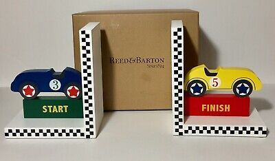 Child's Wooden Racecar Bookends New In Box Colorful Kids Room Decor Kids Wooden Bookends