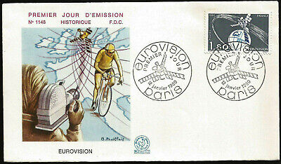 1980 EUROVISION MOVIE CAMERA SATELLITE BIKE MAP FRANCE PARIS FIRST DAY COVER for sale  Shipping to India