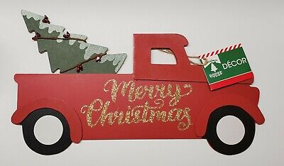 Merry Christmas Red Truck With Tree in Bed Wall Hanging - Christmas Decor
