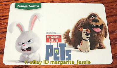 FAMILY VIDEO GIFT CARD THE SECRET LIFE OF PETS SNOWBALL BUNNY DUKE MAX NO VALUE