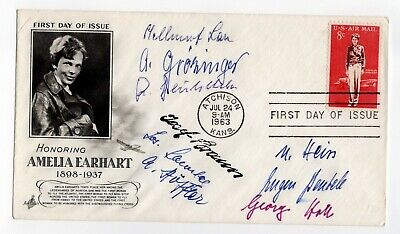 Amelia Earhart first day cover signed by 8 HINDENBURG / GRAF Zeppelin aviators