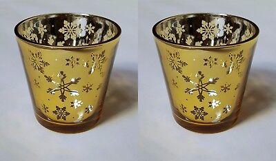 Zwei Licht-set (Yankee Candle Set mit Zwei Weihnachten Design Schneeflocke Teelichtglas Halter)