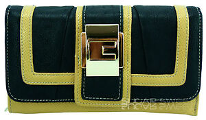 Ladies Black Beige Leather Style Buckle Overflap Designer Purse Wallet Purse