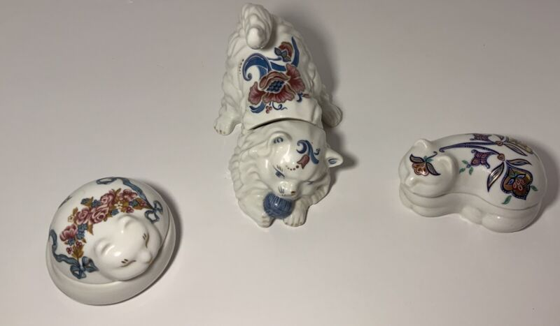 Vintage  Elizabeth Arden 3 Candle Cat Figurines With Lids