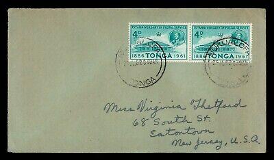 DR WHO 1962 TONGA NUKUALOFA PAIR TO USA f16438