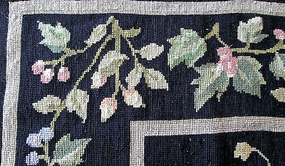 large vintage wool needlepoint rug 6 x 4' black w greens, ivy + flowers, lovely!