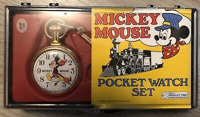 Bradley Time Mickey Mouse Pocket Watch and Chain Locomotive Case Working