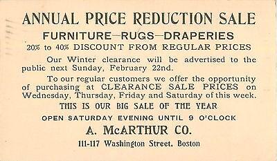 c1910 A McArthur Company - Furniture Store, Boston, Massachusetts Postcard - Party Store Boston