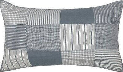 Denim Blue King Pillow Sham Hand Quilted Patchwork Sawyer Mill Farmhouse Bedding - Denim, Pillow Sham