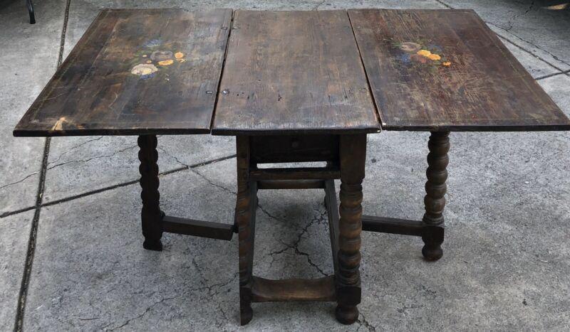 Antique Scandinavian Gate leg table Drop Leaf Table C. mid 18th Century Rare