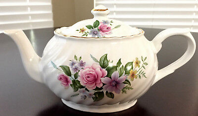 Arthur Wood & Son Pink Rose Purple Clematis Embossed Gold Gilt Small Teapot 6307