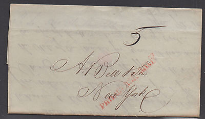 Us Stampless Cover  1846  Philadelphia Rr  1846 To Ny