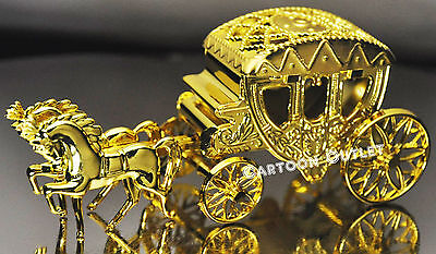 - 1 CARRIAGE WEDDING QUINCEANERA PARTY FAVORS TRINKET BOX  COACH GOLD CAKE TOPPER