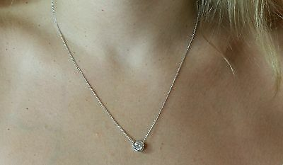 1CT ROUND SOLITAIRE PENDANT NECKLACE BEZEL SET WITH CHAIN SOLID 14K WHITE GOLD ()