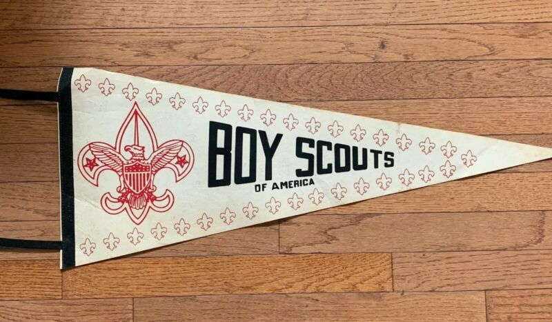 Vintage Boy Scouts of America Souvenir Felt Large Pennant 11.5x29
