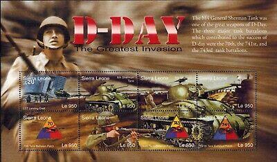 MODERN GEMS - Sierra Leone - D-Day The Greatest Invasion V - Sheet of 8 - MNH