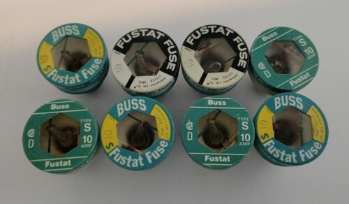 (8) NOS Buss FUSTAT Type S 10 Amp Fuse Dual Element Time Delay Fuse Screw