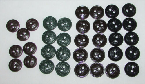 (35) Vintage Boy & Girl Scouts Uniform Sewing Buttons - Green - Brown - Navy