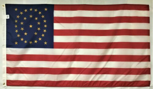 34 Star Gold U.S. 1863 Historical Indoor Outdoor Dyed Nylon Flag Grommets 3