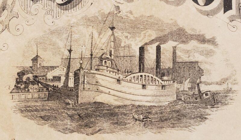 1870s GREAT LAKES MI CITY IN HARBOR STOCK CERTIFICATE STEAM SHIP LOCOMOTIVE RR