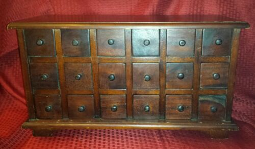 Antique Mahogany Apothecary Chest 18 Drawer Counter Top Cabinet