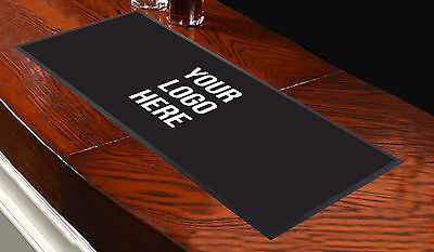 CUSTOMISED BAR RUNNER ANY LOGO BLACK IDEAL FOR HOME COCKTAIL PARTY PUB BAR MAT