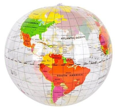 "16"" Inch Inflatable World Globe Map - Clear Transparent Education School Ball"