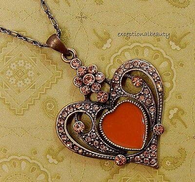 Colorado Heart - Light Colorado Topaz Rhinestone Heart Pendant on 16