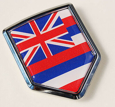 Hawaii Flag Hawaiian Car Chrome Emblem Decal Sticker  ()