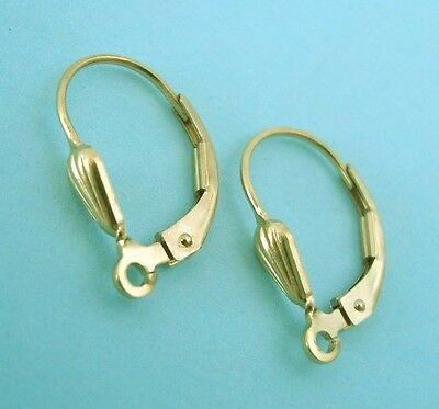 6x Seashell 14k Yellow gold filled lever back earring ear wire w/ open ring E09g for sale  Shipping to India