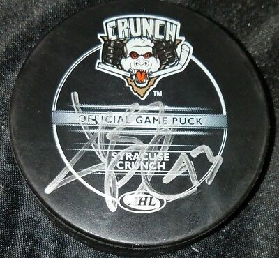 Jeff Deslauriers AHL SYRACUSE CRUNCH signed Autographed official game Puck