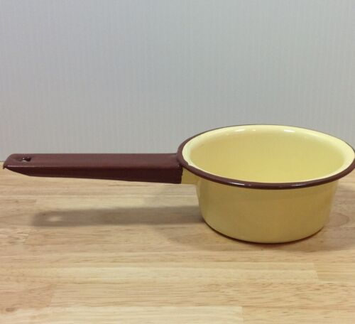 Butter Yellow Enamel Sauce Saute Pan Cookware Stove Top Pot Kitchen Ware VINTAGE