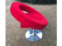 Contemporary revolving Italian-Style Chair, in red velvet, on a chrome base